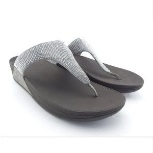 New FITFLOP Silver Crystal Thong Sandals 10